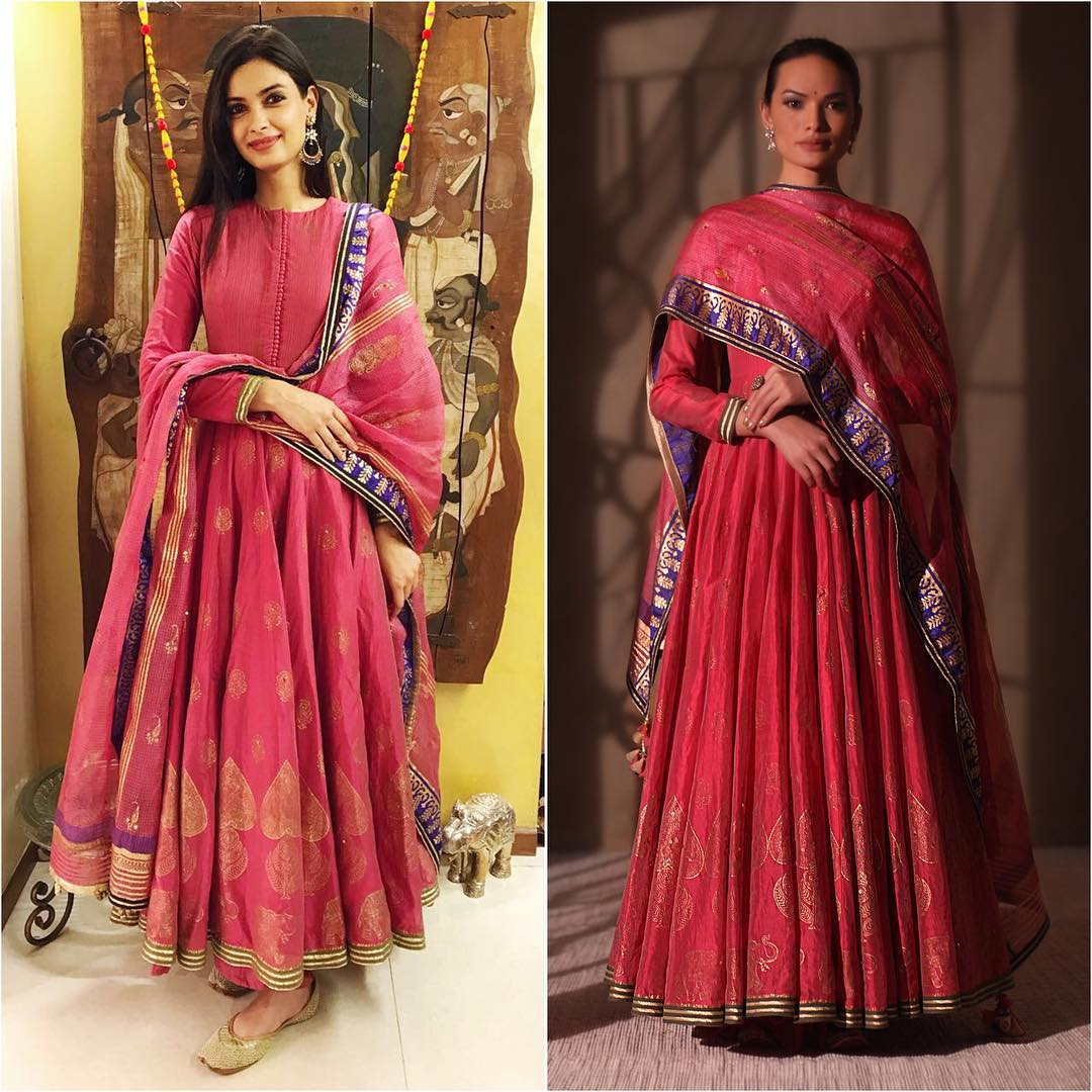 Diana ruby pink chanderi silk kalidar for Diwali.