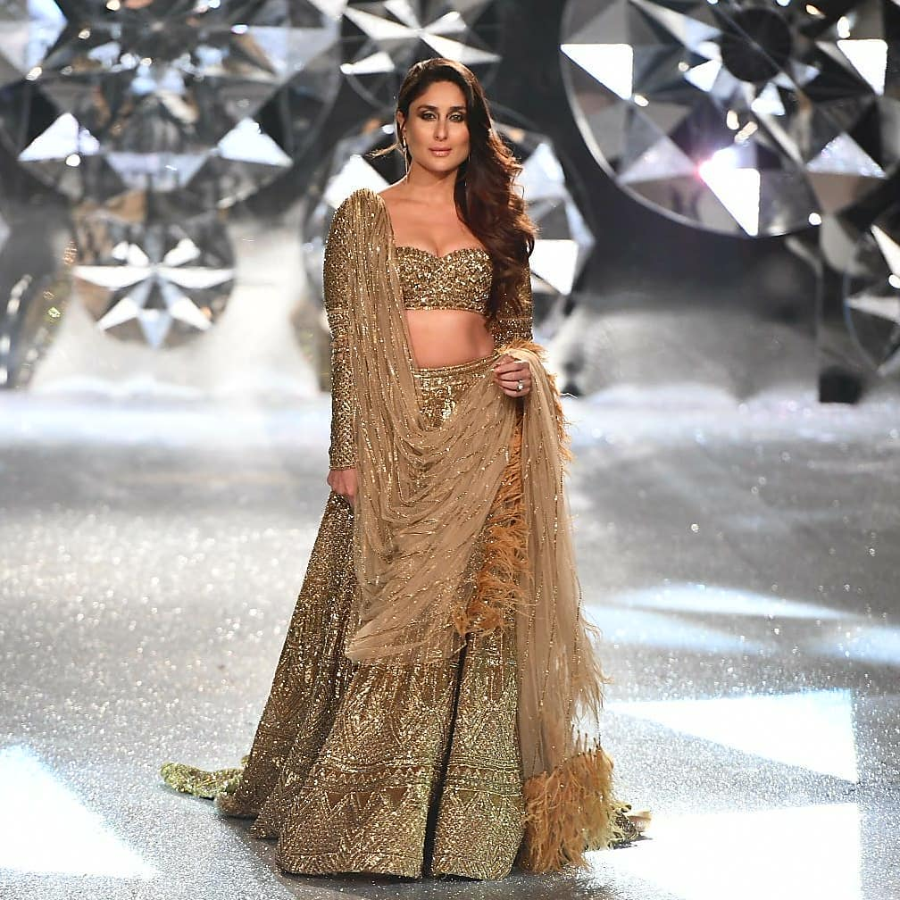 Kareena Kapoor in Falguni and Shane Peacock's Gold Lehenga at The India Couture Week 2018
