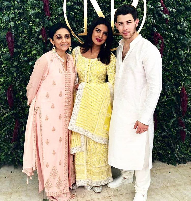 Priyanka Chopra in Abu Jani Sandeep Khosla's Yellow Suit at her Roka Ceremony