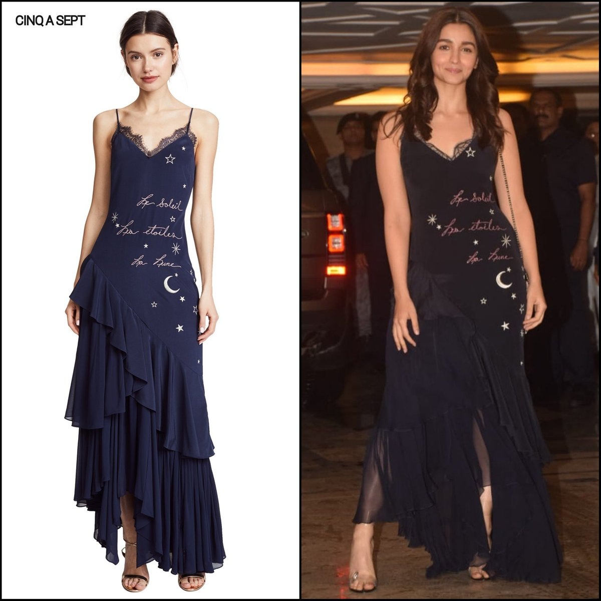 Alia Bhatt in Cinq a Sept's Dress at Nick-Priyanka Engagement