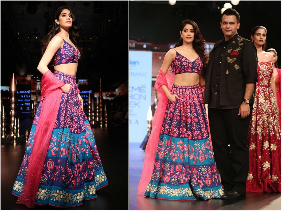 Lakme Fashion Week 2018 - Janhvi Kapoor in a Blue And Pink Lehenga