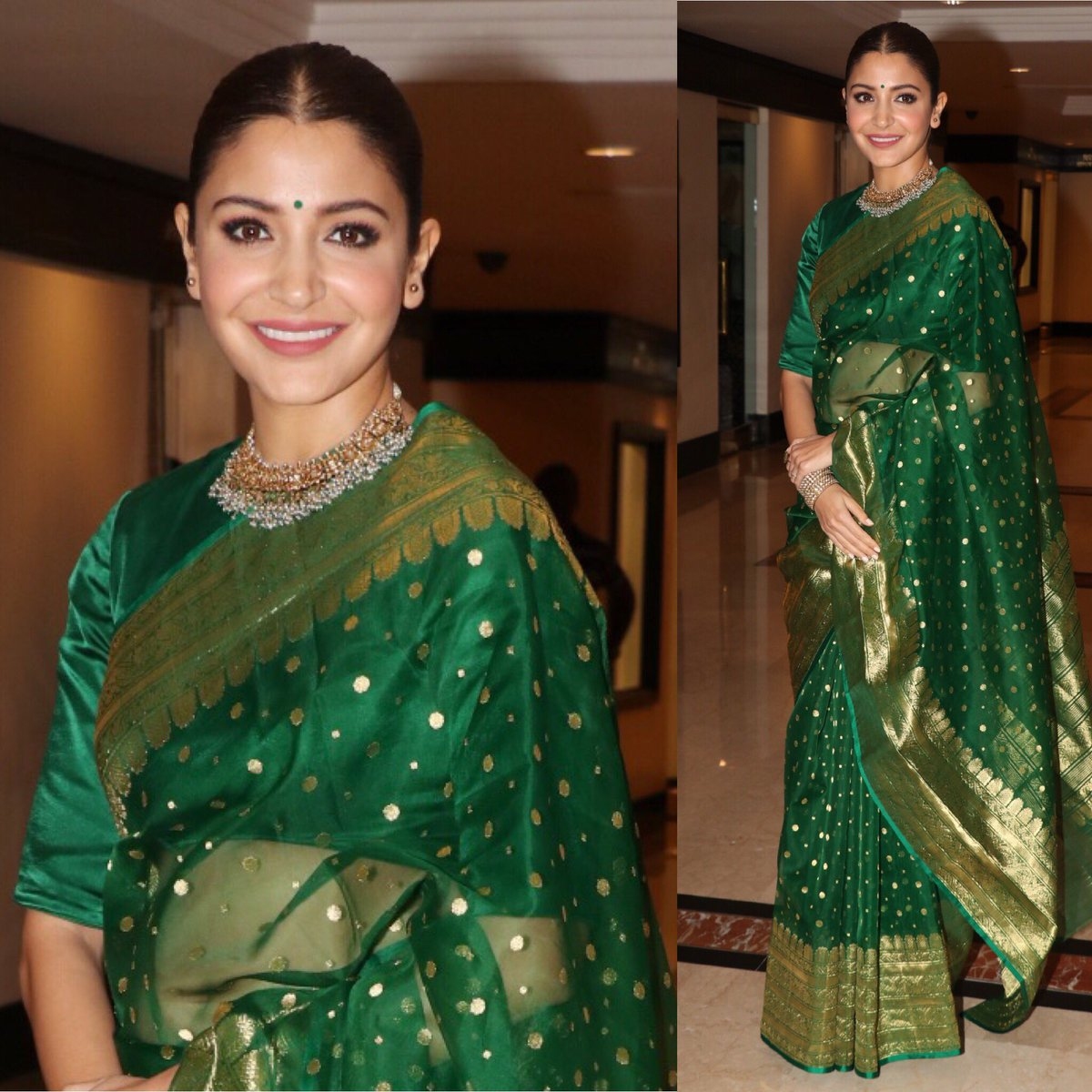 Anushka Sharma Looks Drop-Dead Gorgeous in a Green Silk Saree