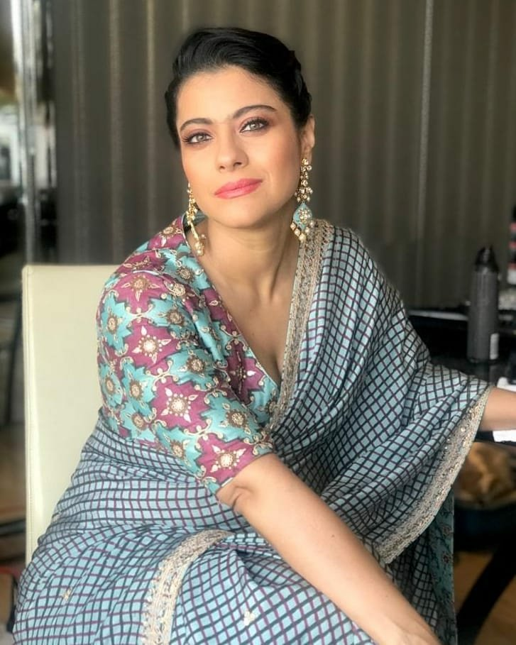 Kajol in Check Printed Saree