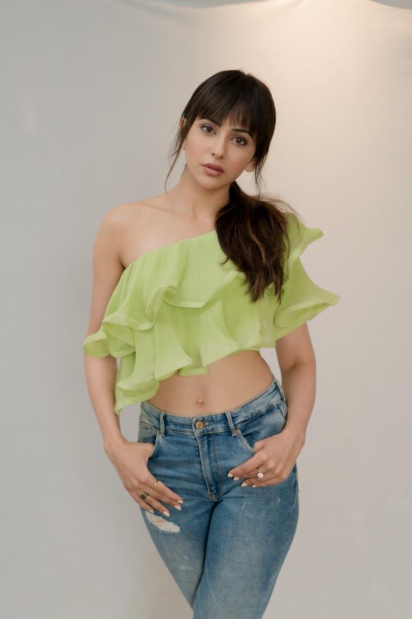 Rakul Preet Singh in fringe cut Top with Blue Denim