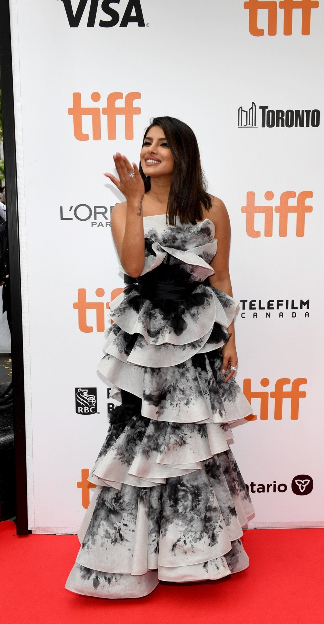 Priyanka Chopra in Monochrome Strapless Ruffled Gown