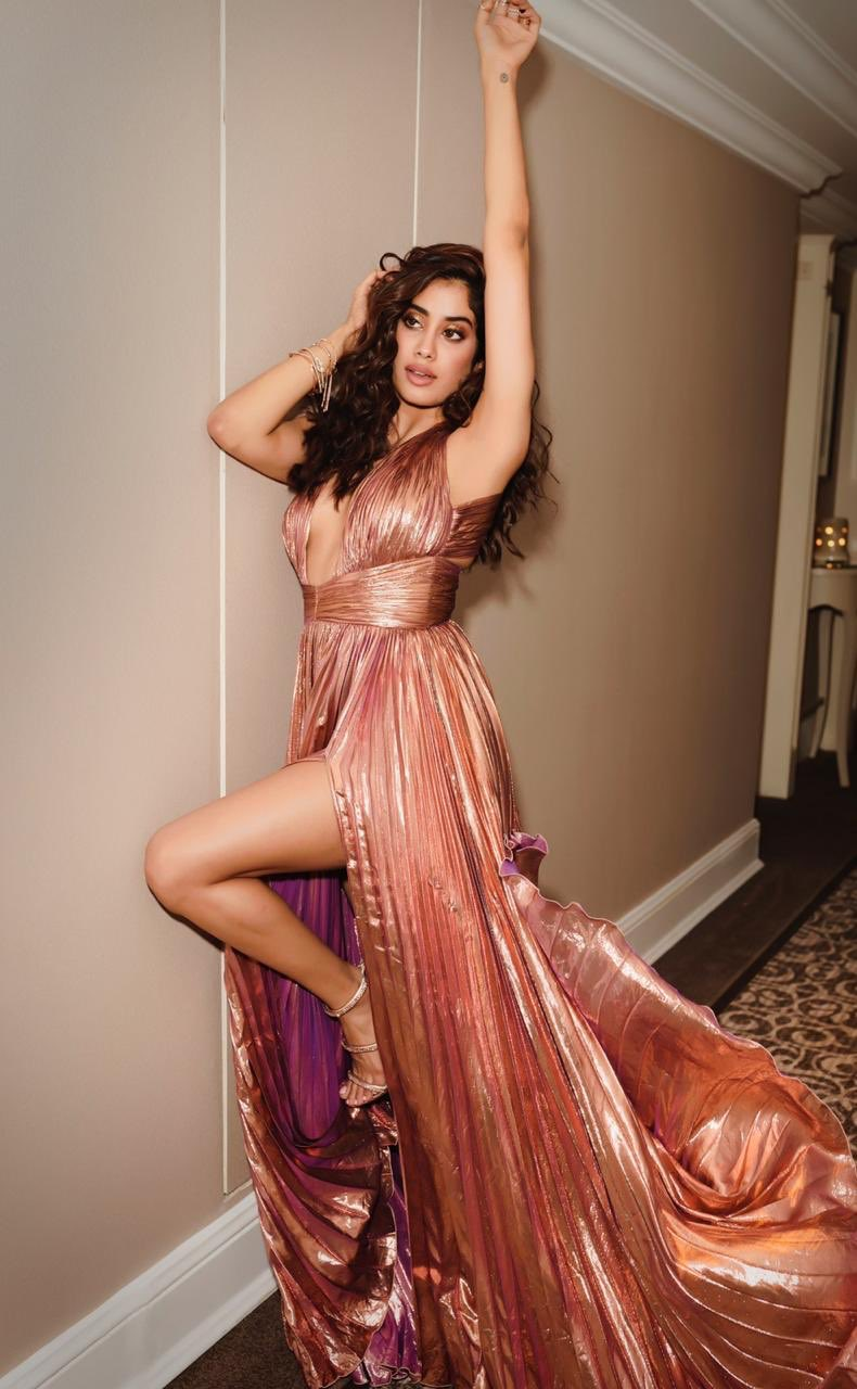 Janhvi Kapoor in Metallic Pleated Gown