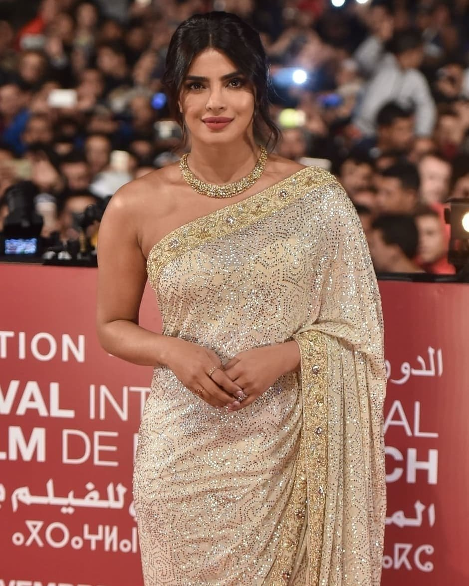 Priyanka Chopra in Off White Saree
