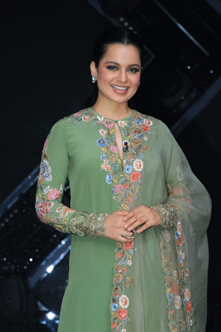 Kangana Ranaut in Green Churidaar Suit Set