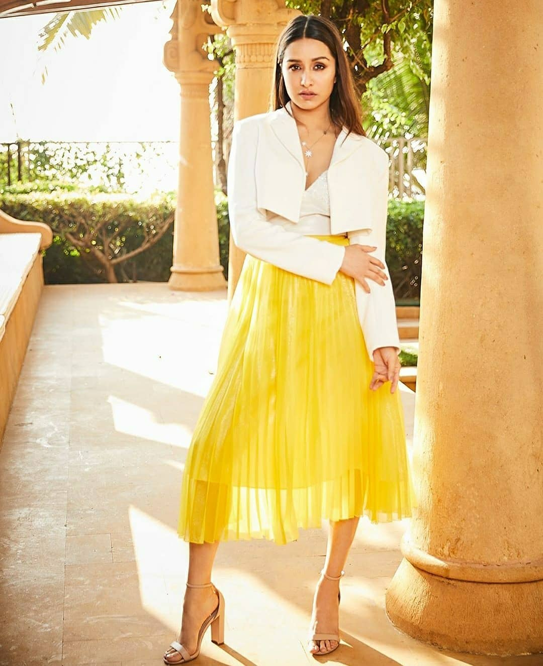 Shraddha Kapoor in Yellow Pleated Skirt Styled with a White Tank