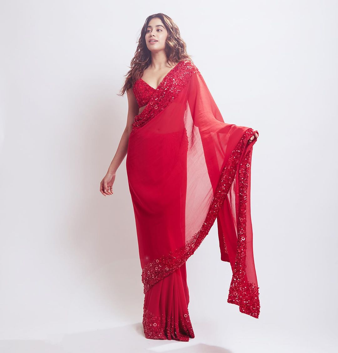 Janhvi Kapoor in Manish Malhotra's Red Saree