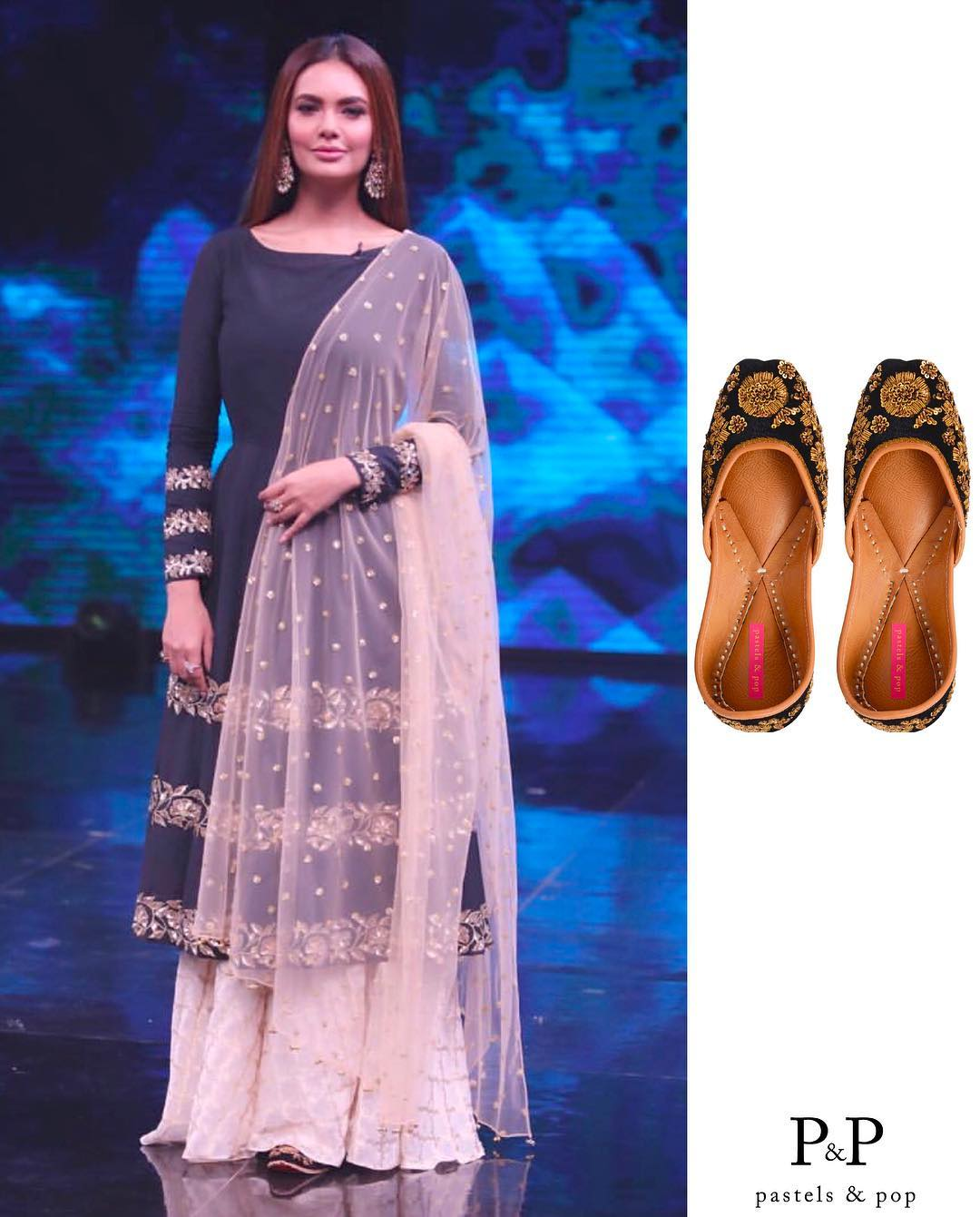Esha-Gupta-in-Ranian's-Designer-Black-Anarkali-Kurta-With-Skirt-Set