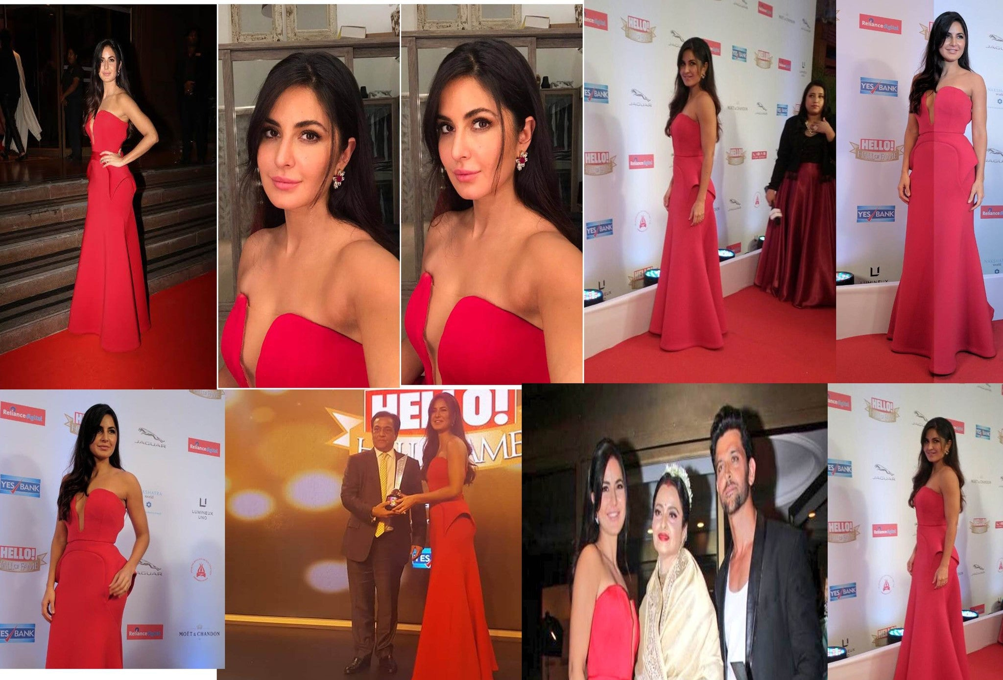 Gracing the red carpet was Katrina Kaif wearing a red Abu Jani Sandeep Khosla gown at Hello Fame Award