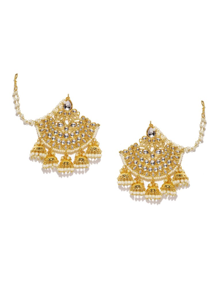 Gold-Toned & White Crescent Shaped Drop Earrings - Jhumka Earring Chain Jewellery Set