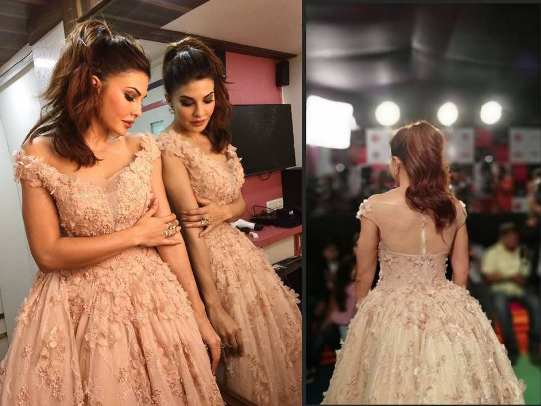 Jacqueline Fernandez wore a nude beige ball gown designed by Dar Sara.