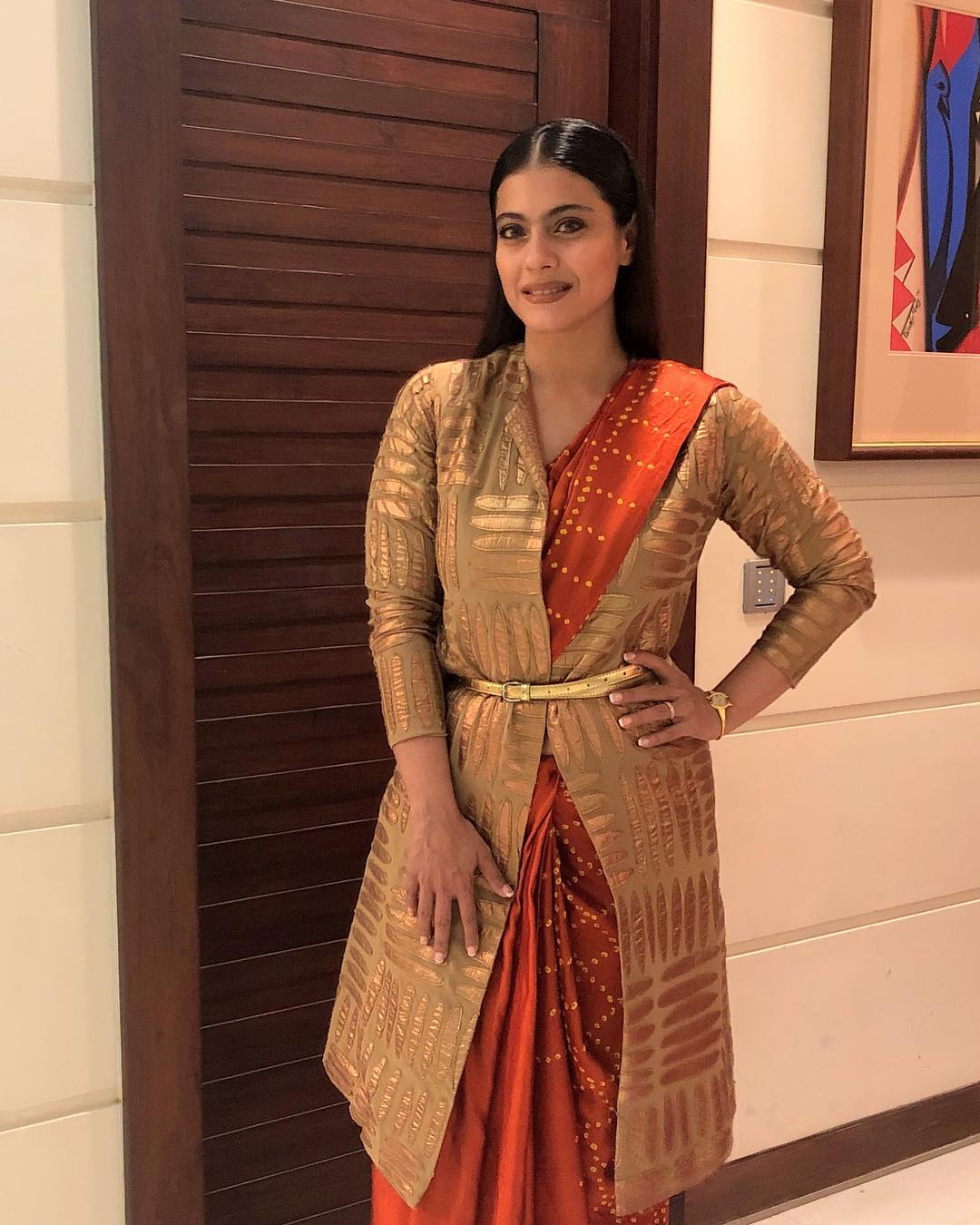 You Need To Check Out Kajol's Bandhani Sarees With Gold Jacket Look Is Unbelievable
