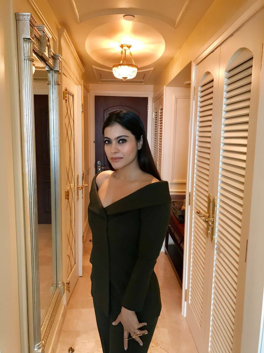 Kajol in Olive Green Off Shoulder Pantsuit By Nikhil Thampi