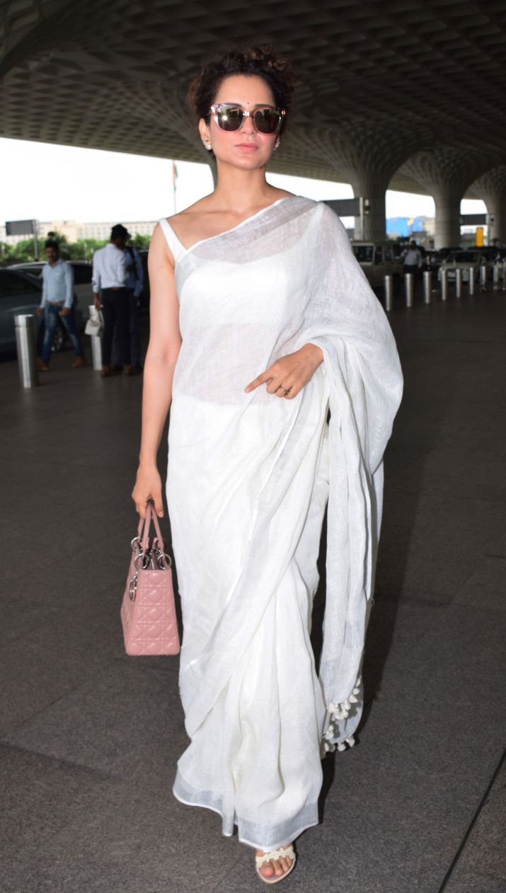 Kangana-Ranaut-in-White-Saree