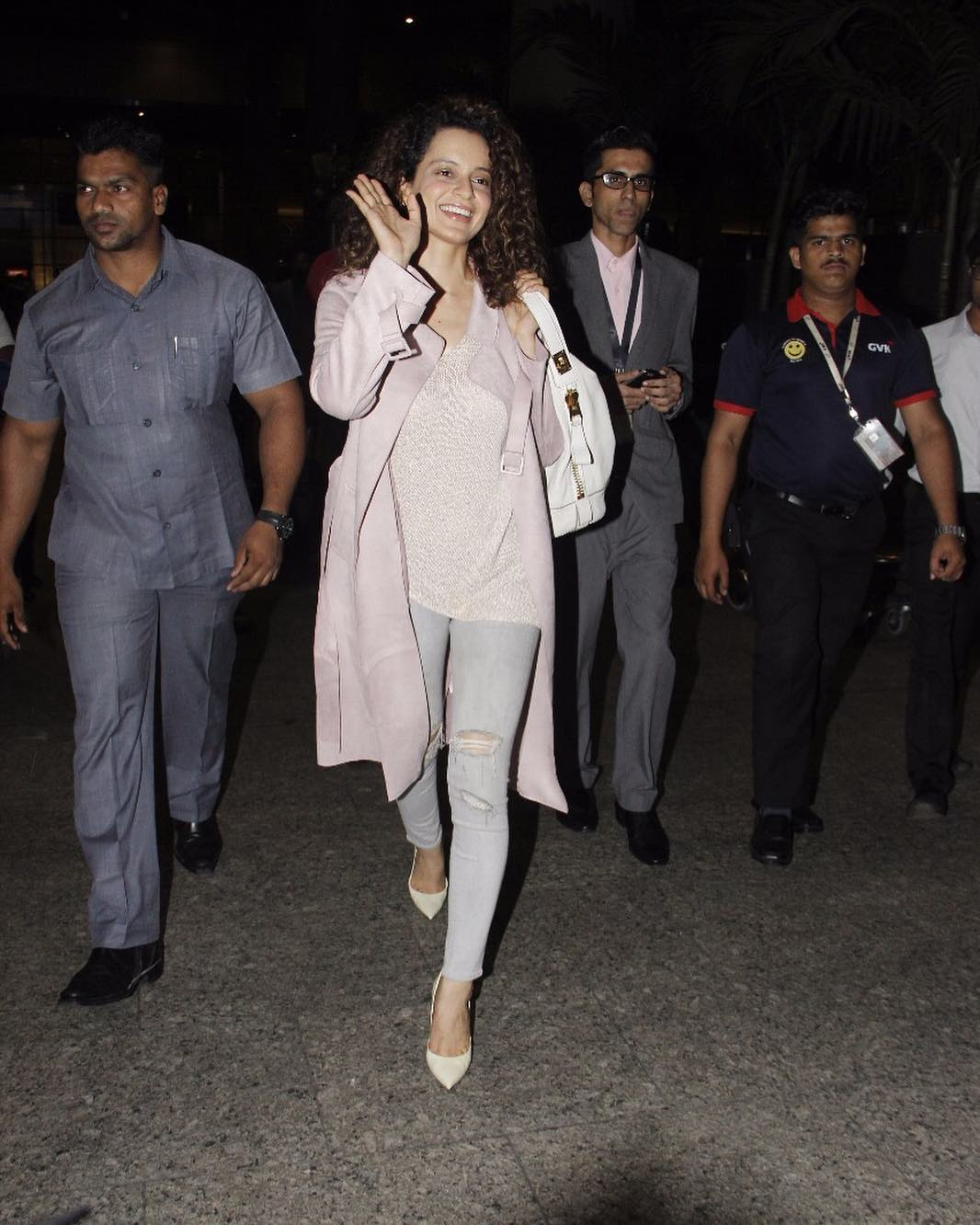Kangana Ranaut in Helmut Lang and Zara's Long Trench Coat at Airport