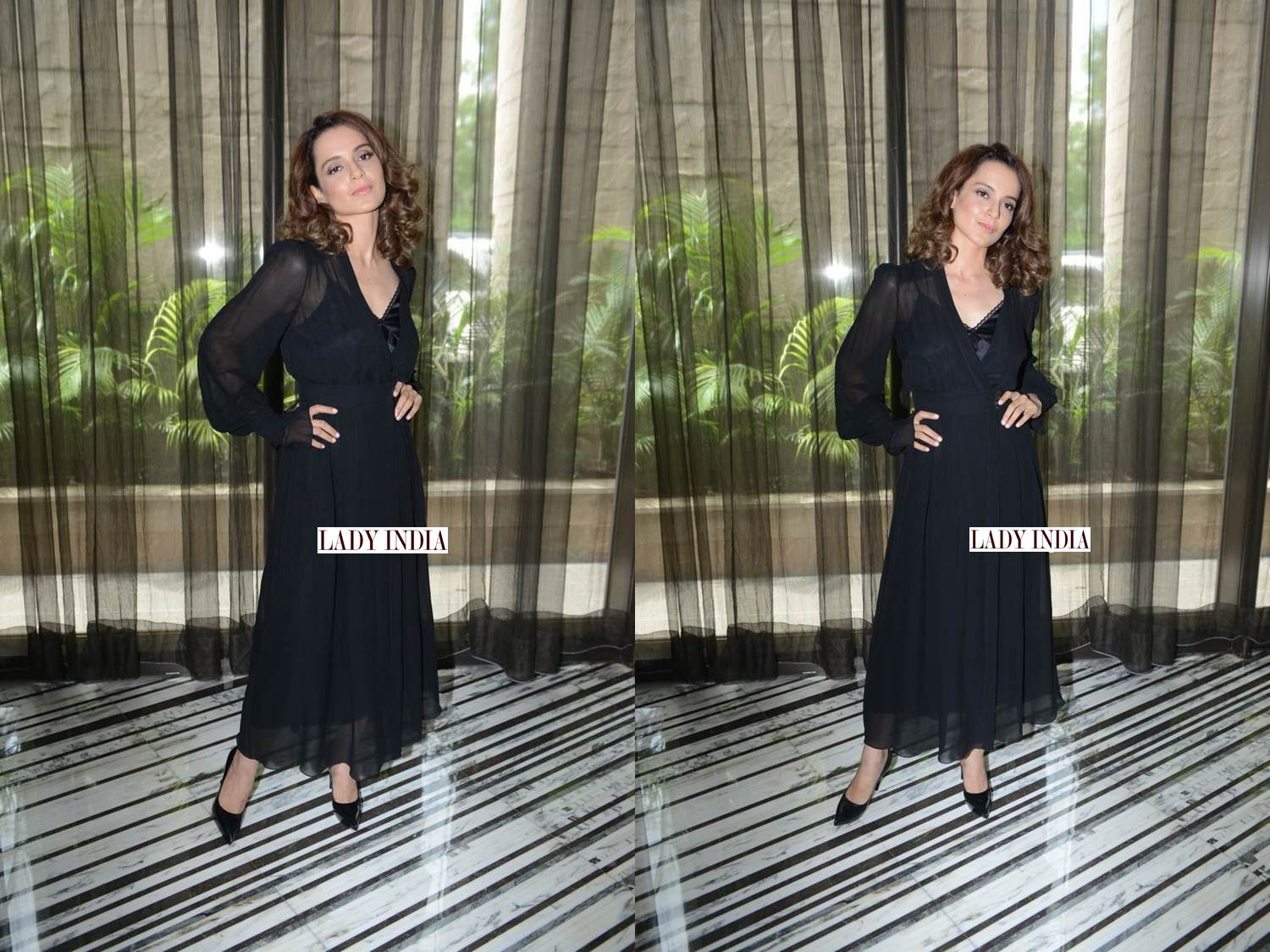 Kangana Ranaut looks like a dream in this black long maxi dress western wear