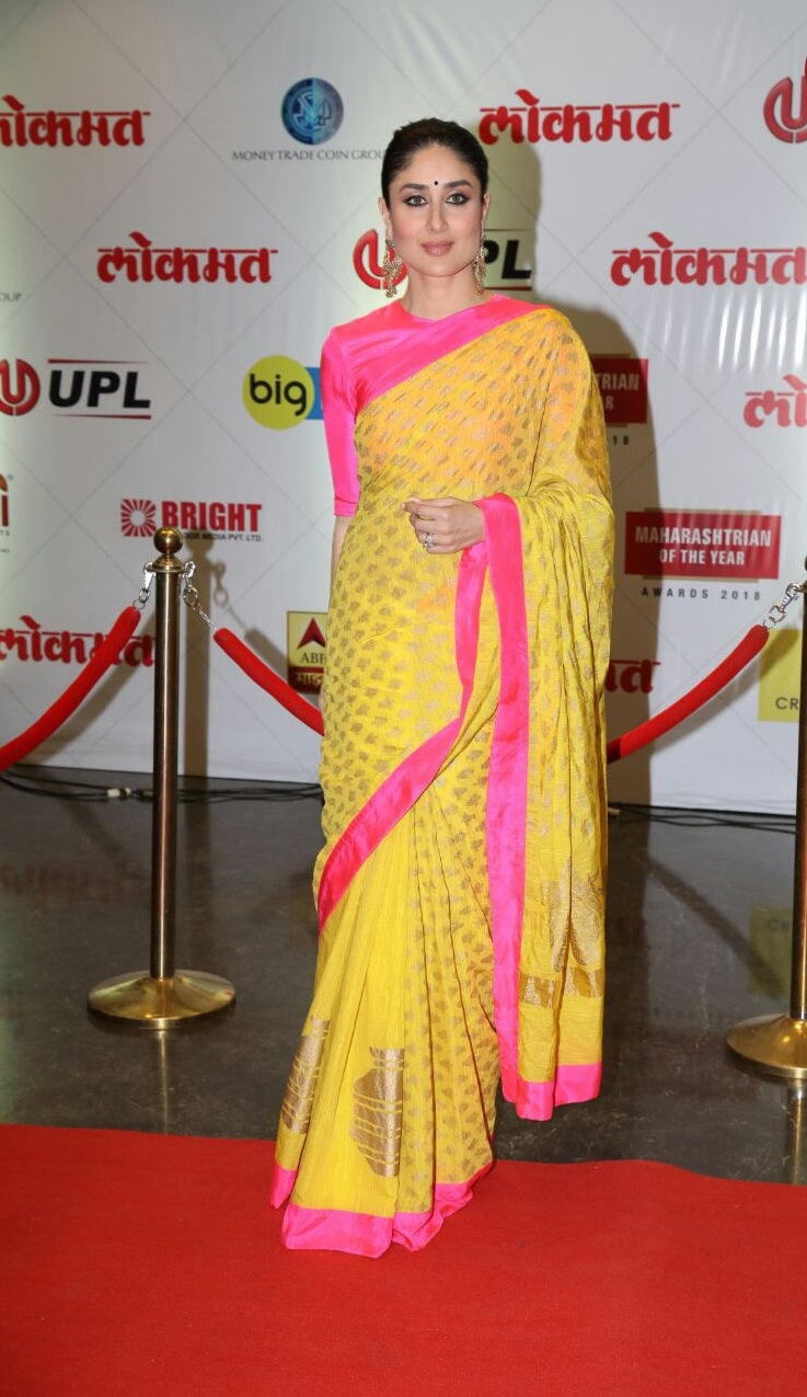 Kareena Kapoor Khan in Canary Yellow Chanderi Silk Saree