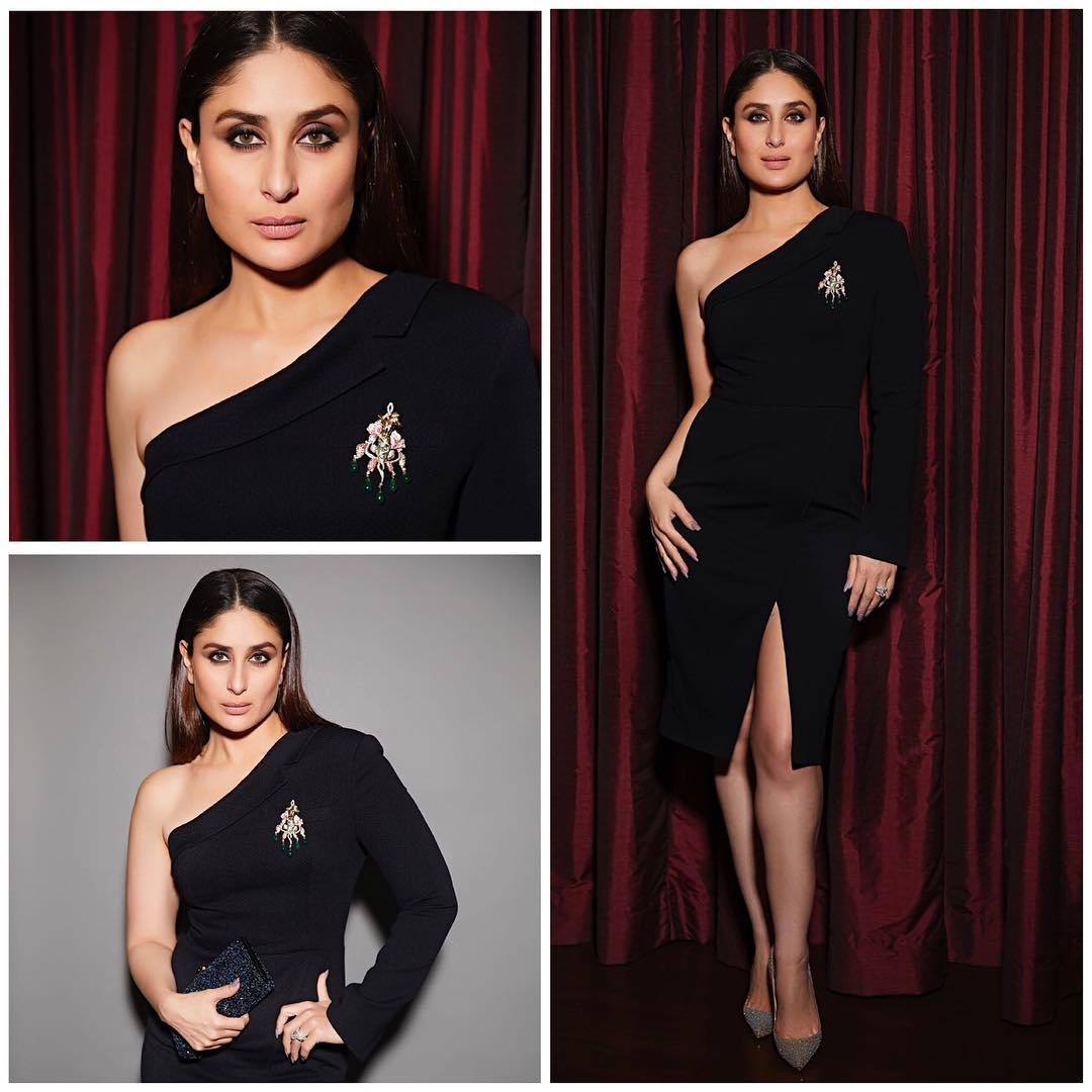 Kareena Kapoor Khan in one shoulder number by Ashish and Soni.
