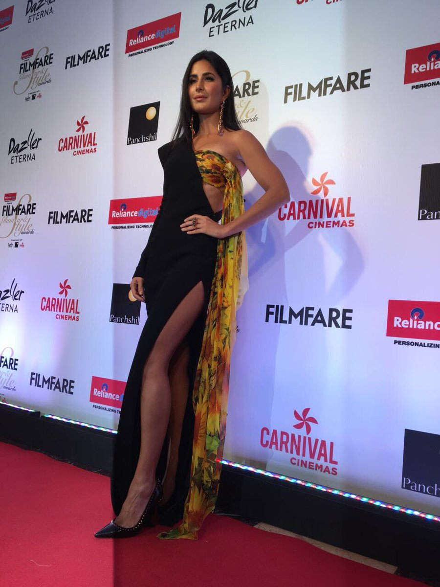 Katrina Kaif Worked A Black & Yellow Gown And It's Too Damn Sexy