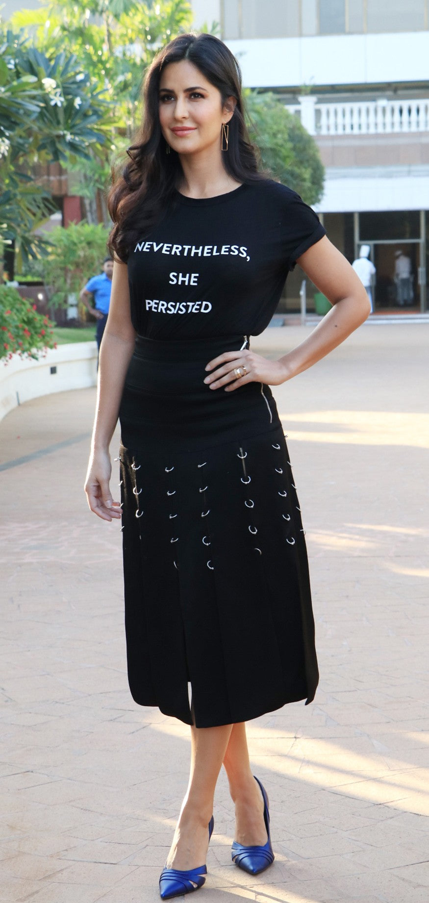 Katrina Kaif Looked Stylish in Prabal Gurung 's Black T-Shirt With A Ring Detail Skirt