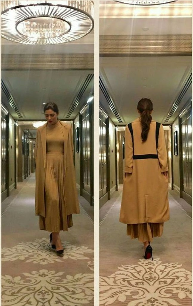 Mahira Khan in a chic brown pleated midi dress with Long Coat  from House of Nomad