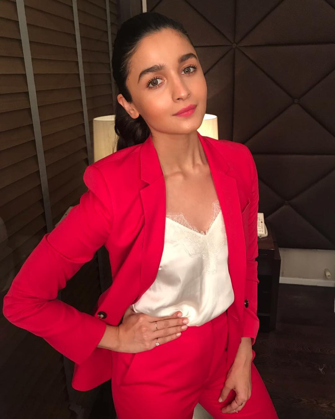 Alia Bhatt in blazing hot pink suit from Topshop