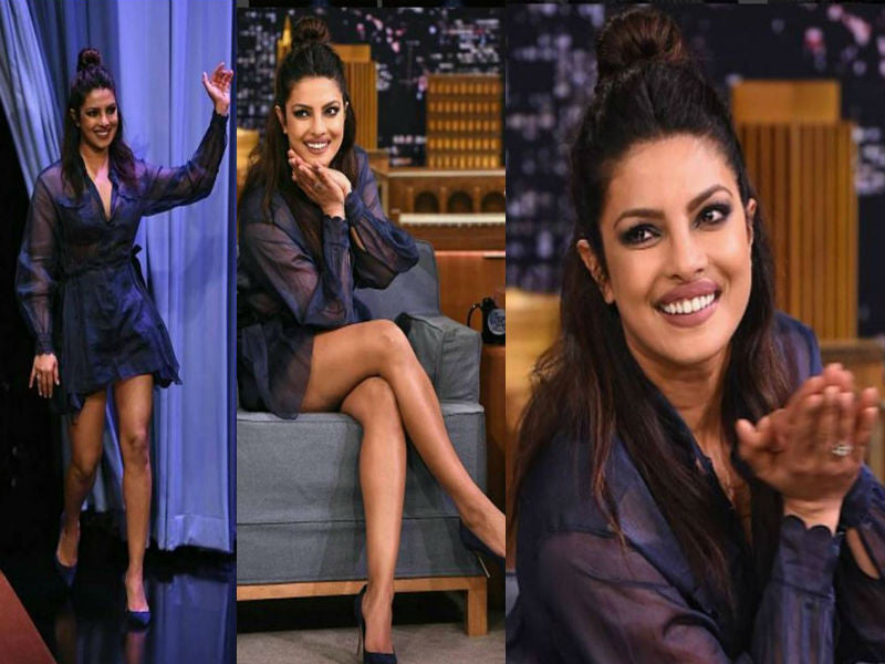 Priyanka Chopra in A Fendi Outfit At The Tonight Show Hosted By Jimmy Fallon