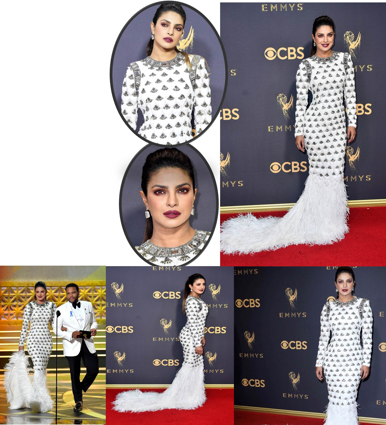 Priyanka Chopra wore a custom-made BALMAIN gown to attend the 2017 Emmys Awards in Los Angeles.