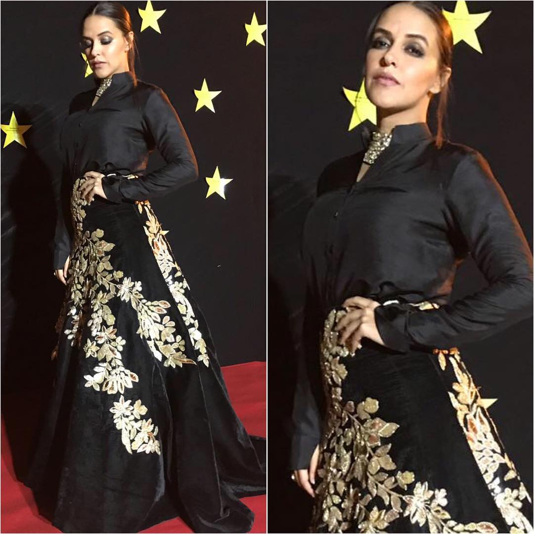 Neha Dhupia's Looked Like Black Magic in Manish Malhotra