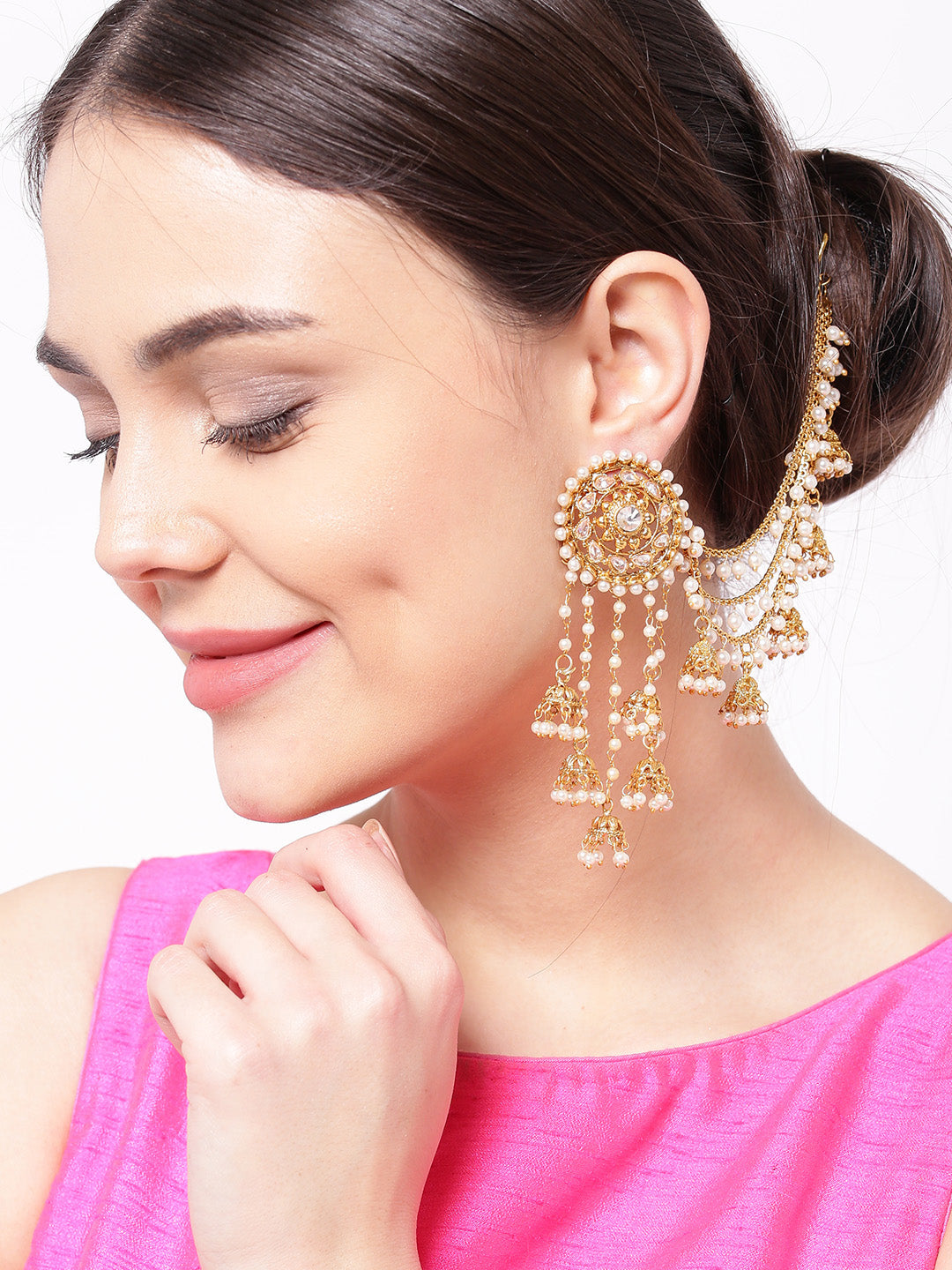Off-White 18K Gold-Plated Beaded Handcrafted Jhumkas with Ear Chain - Jhumka Earring Chain Jewellery Set
