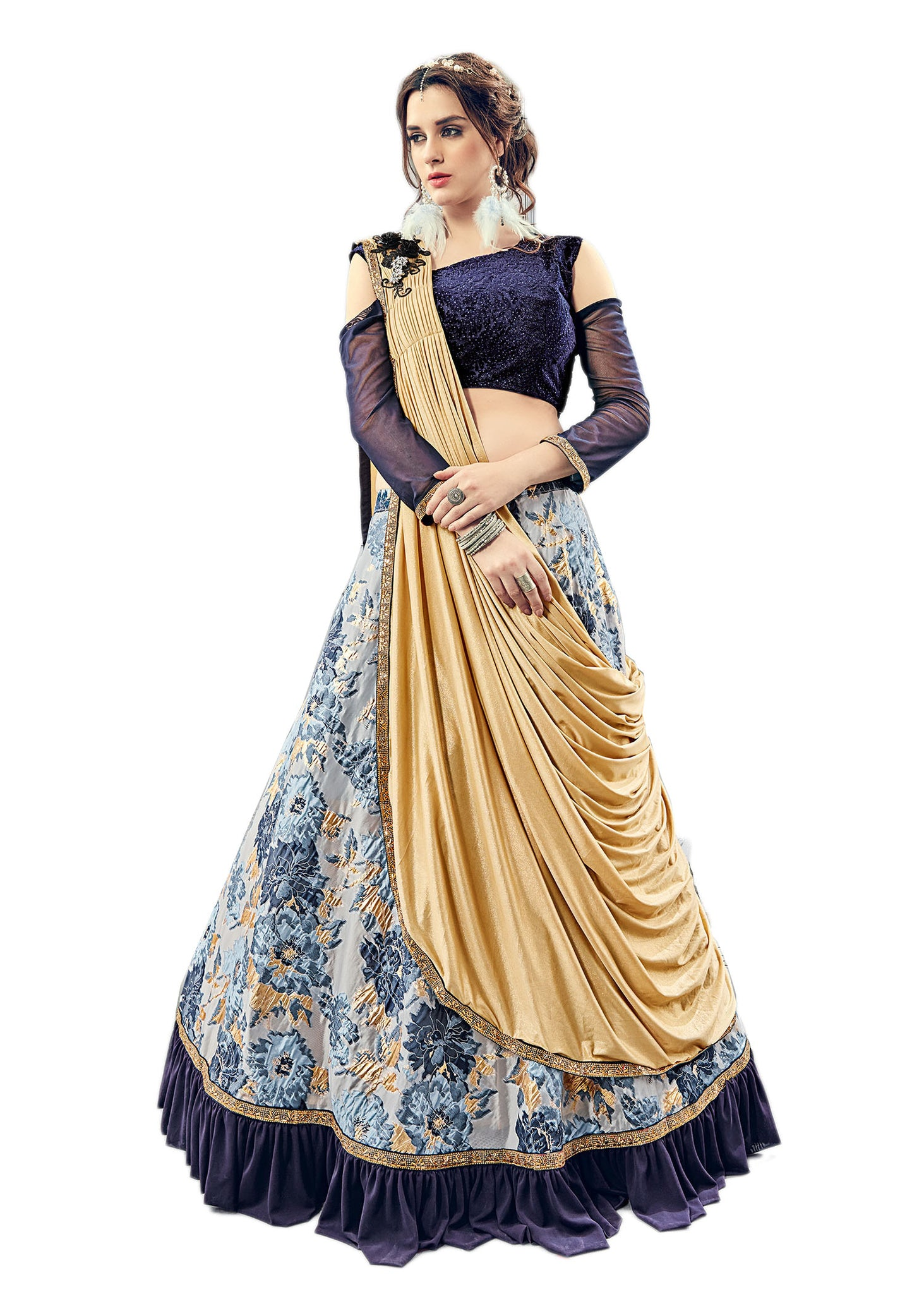 Western Style Lehenga With Shoulder Cut Choli: