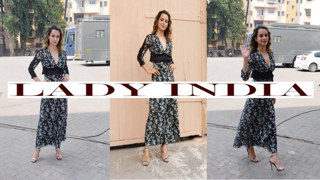 Kangana Ranaut in Dior printed maxi dress at RANGOON Movie Promotion
