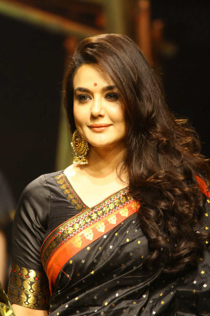 Preity Zinta in Designer banarasi Silk Saree in Lakme Fashion Week 2017 India Designer Saree