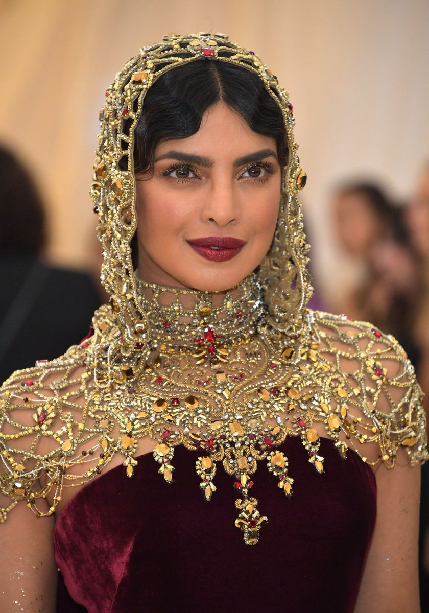 Priyanka Chopra in Ralph Lauren's Velvet Gown at Met Gala 2018