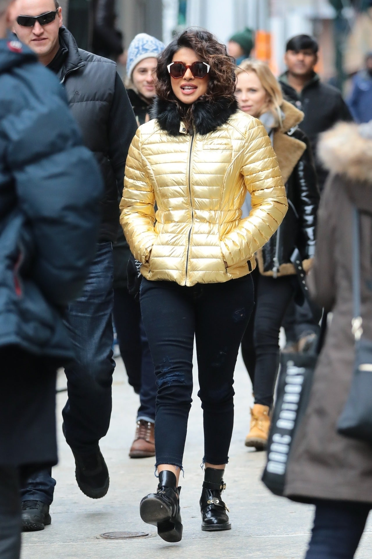 Priyanka Chopra in golden Jacket
