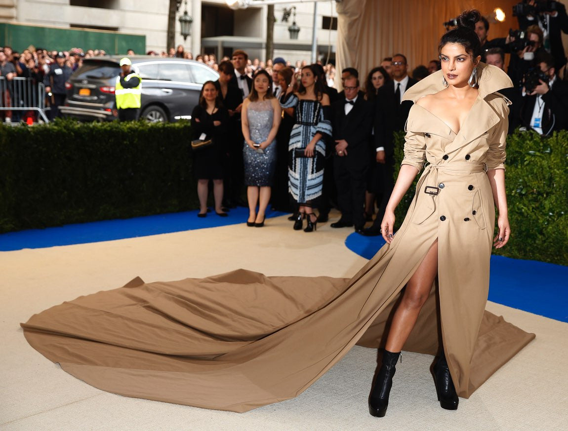 Priyanka Chopra Looked Jaw Drop Gorgeous in Ralph Lauren trench-coat gown longest trench coat and looks fierce AF Met Gala 2017