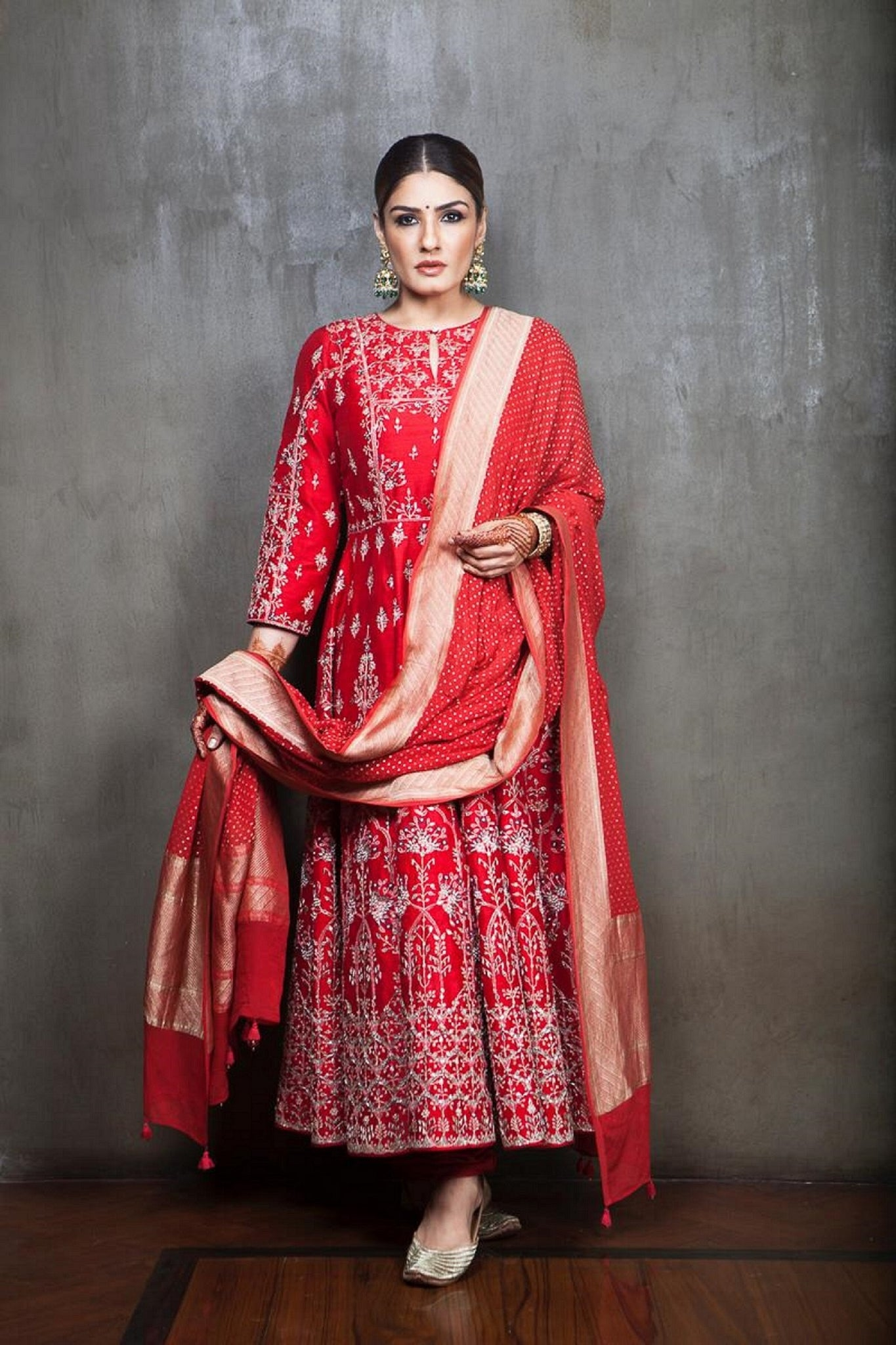 Raveena Tandon in Anita Dongre's Red Anarkali Suit