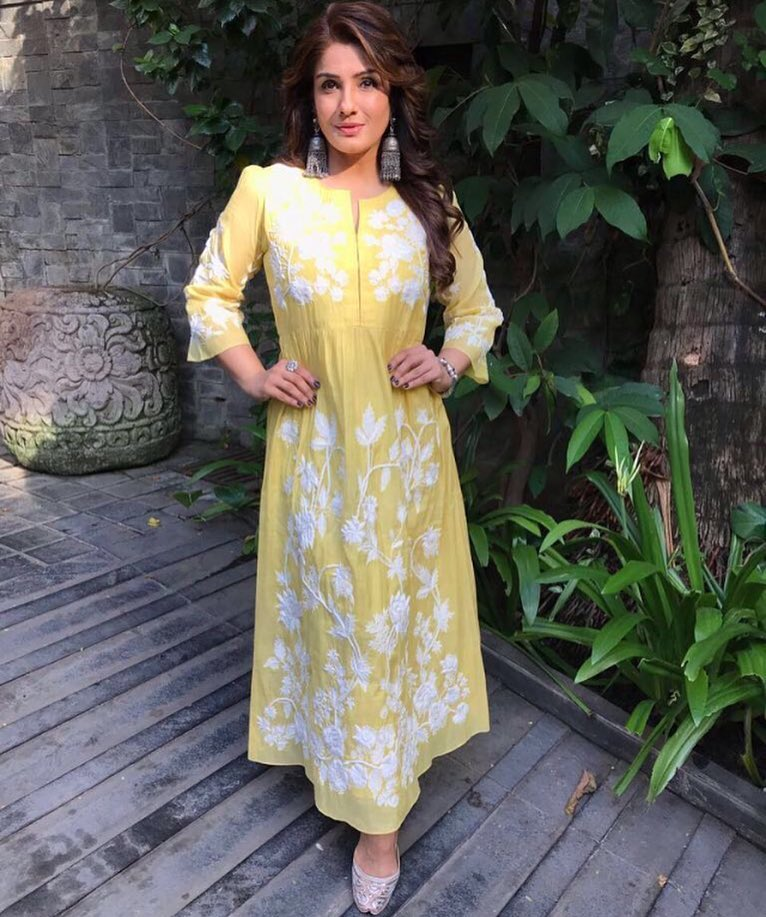 Raveena Tandon Looked Shiny As Sunflower in Ahilaya's Designer Dress