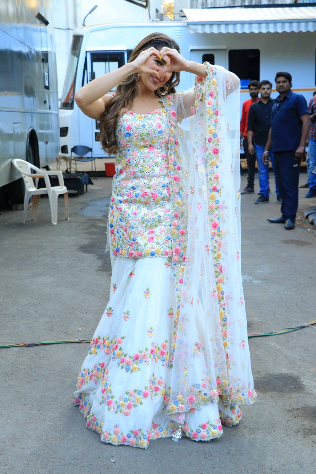 Sara Ali Khan in White Sharara
