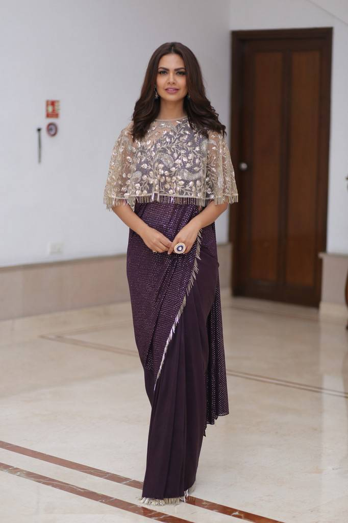 Saree With Cape Blouse