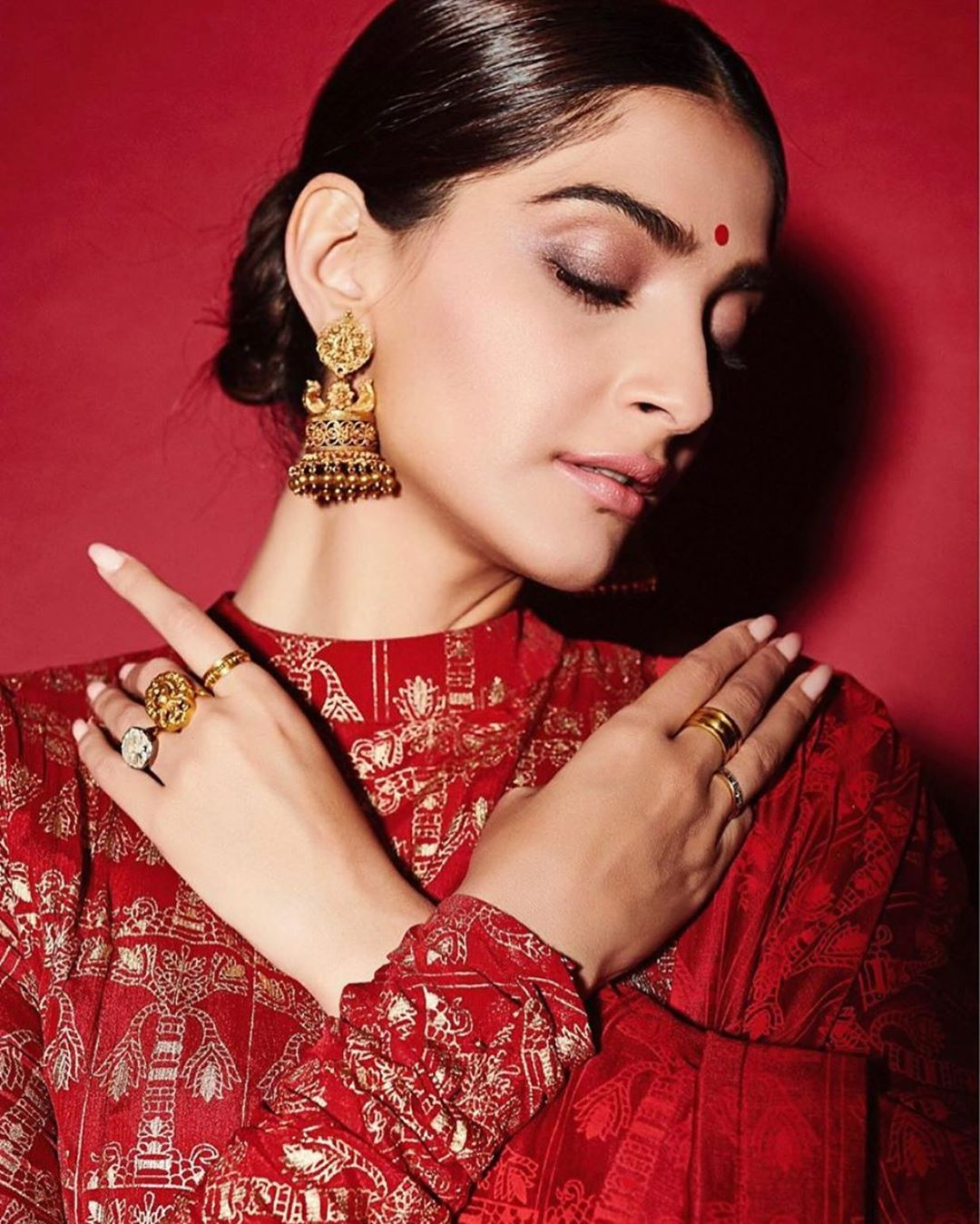 Sonam Kapoor in a Red Anarkali Suit with Dupatta from Masaba's Collection