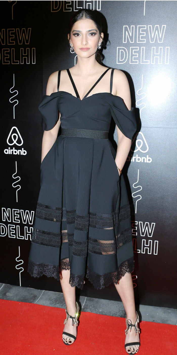Sonam Kapoor in Self Portrait's Cold-Shoulder Strappy Midi Dress During The Fashion Show By Designer Shantanu And Nikhil