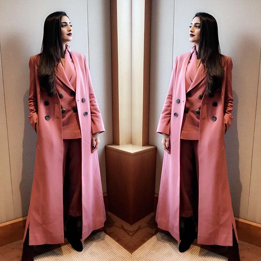 Sonam Kapoor's Pink Winter Layered Look is Perfect For These Winter Days