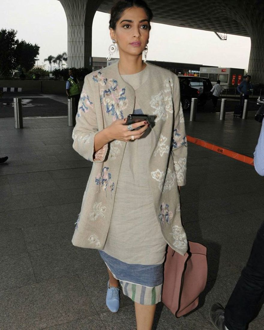 Sonam Kapoor Made A Stylish Entry At Mumbai  Airport
