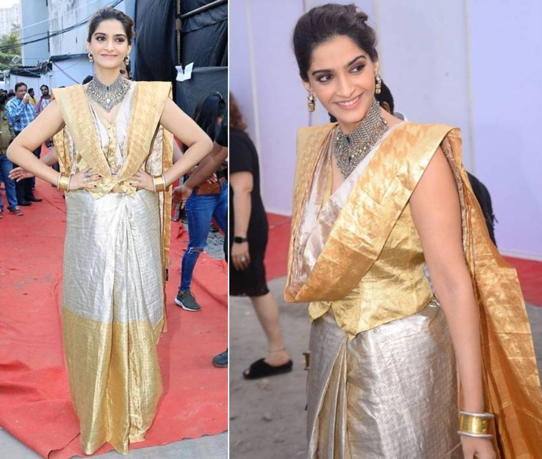 Sonam Kapoor Nailed The Ethnic Look Silver And Gold Cotton Silk