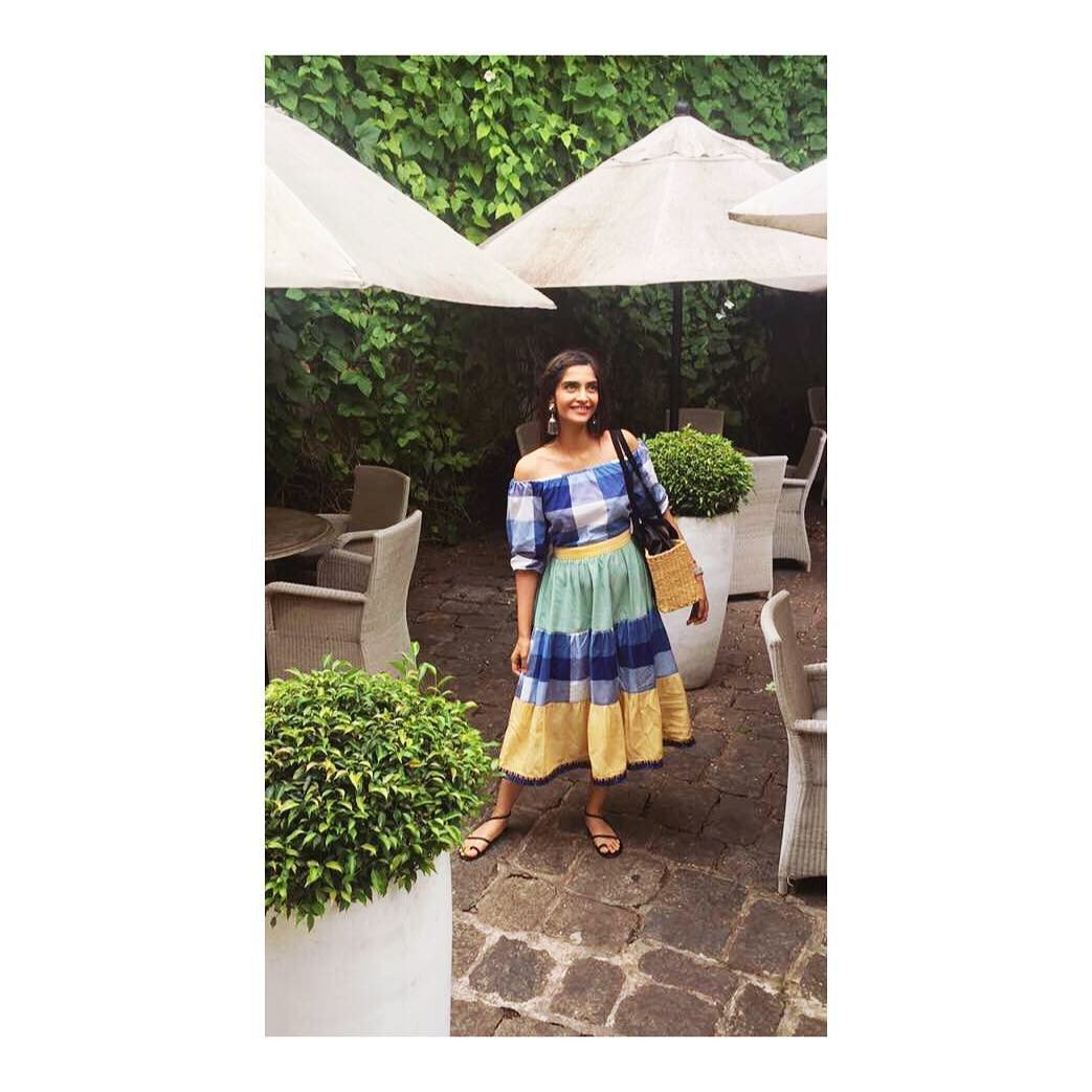 Sonam Kapoor in a checkered and color block Off Shoulder Tiered summer dress from Jodi Life