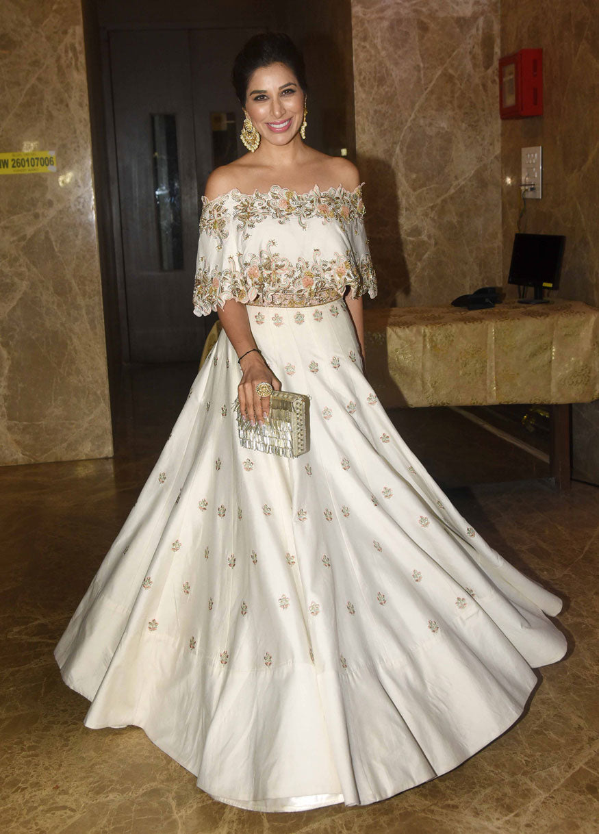 Sophie Chaudhary In Off-Shoulder Lehenga By Dheeru & Nitika